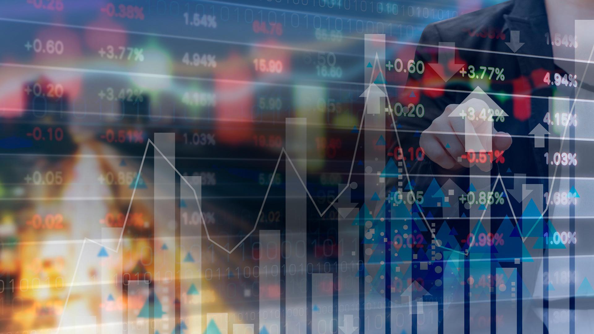 Wall Street trading charts Illustration
