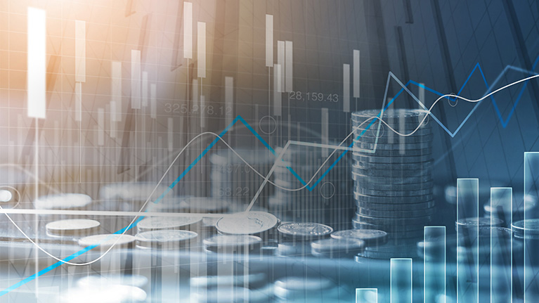 Financial indices and stock market analysis graph on a coin background